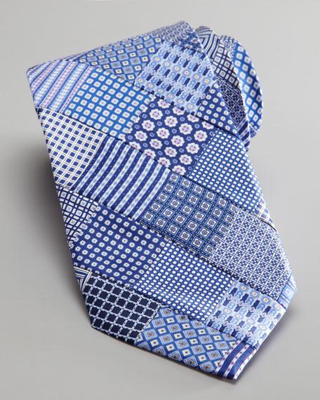 Patchwork Woven Silk Tie, Navy/White