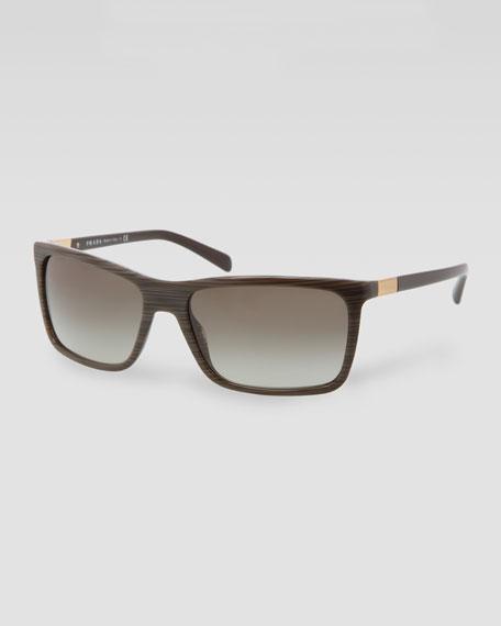 Square Plastic Sunglasses, Green Wood