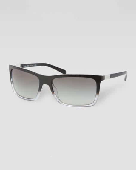 Square Plastic Sunglasses, Gray Gradient