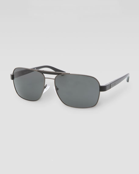 Metal Navigator Sunglasses, Matte Black