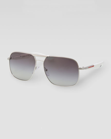 Metal Logo Aviator Sunglasses, Silver