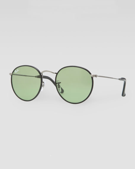 Icon Leather-Frame Sunglasses, Black