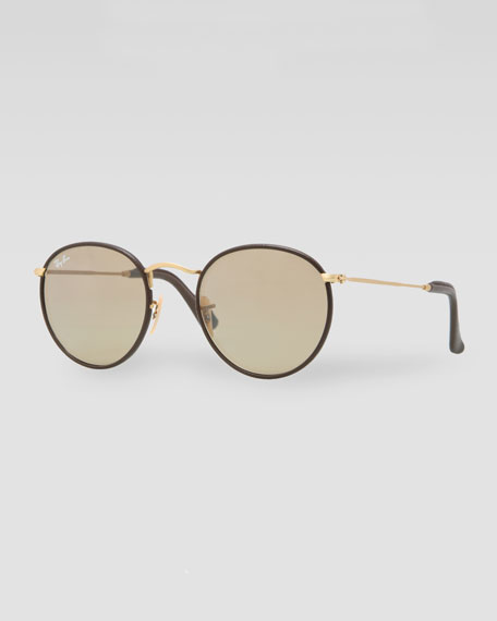 Icon Leather-Frame Sunglasses, Brown