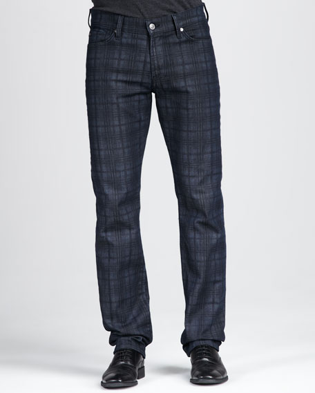 Slimmy Plaid Jeans, Dark Indigo