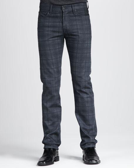 Slimmy Plaid Jeans, Dark Gray