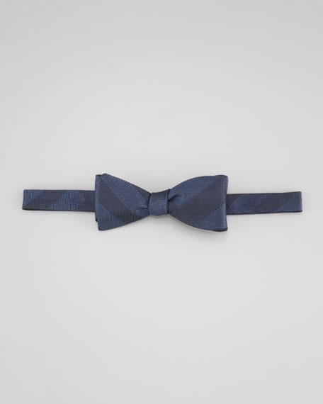 Check Pre-Tied Silk Bow Tie, Blue