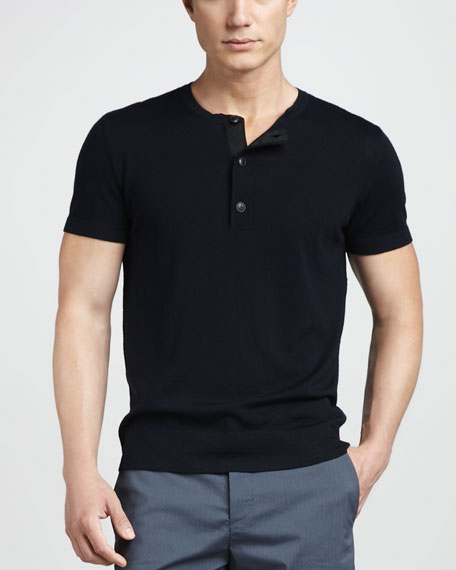 Short-Sleeve Henley Sweater