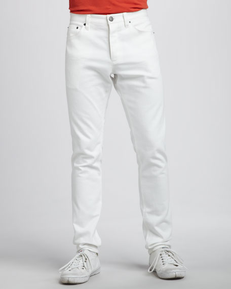 Slim Five-Pocket Pants, White