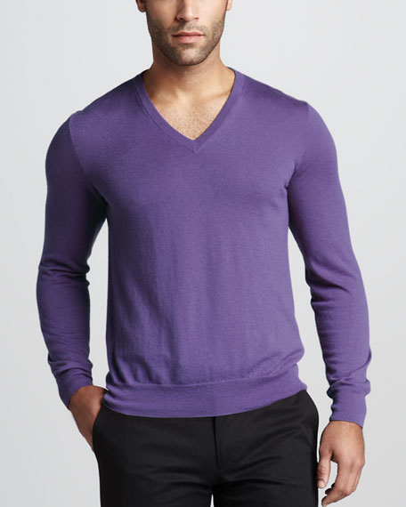 Cashmere V-Neck Sweater, Sovereign Purple