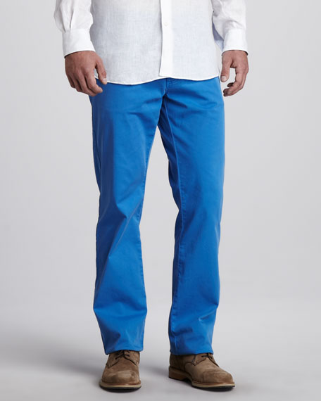 Stretch-Twill Five-Pocket Pants, Blue