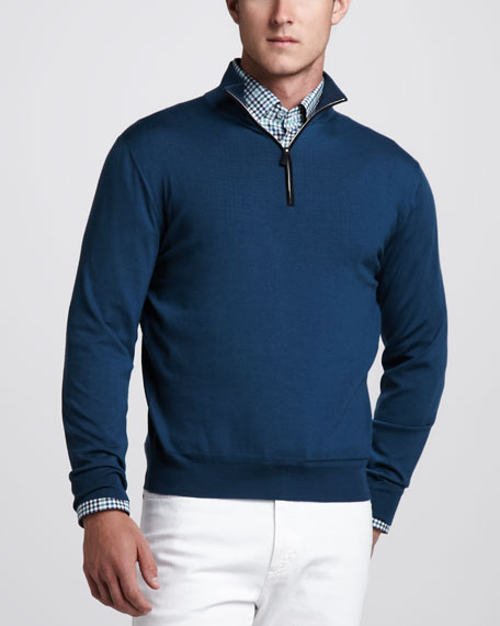 Suede-Trim Zip Sweater, Petrol