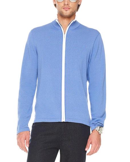 Full-Zip Sweater, Azure