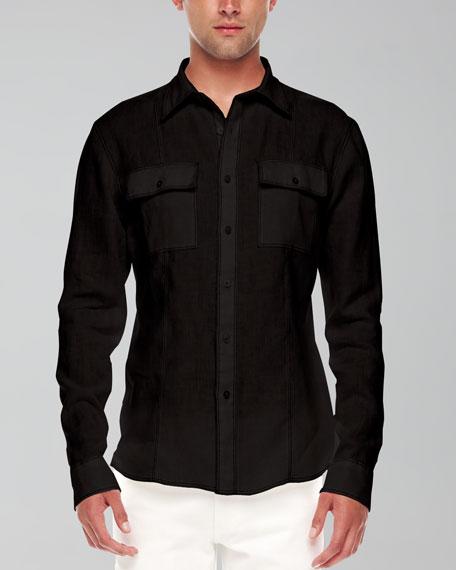 Contrast-Trim Linen Shirt