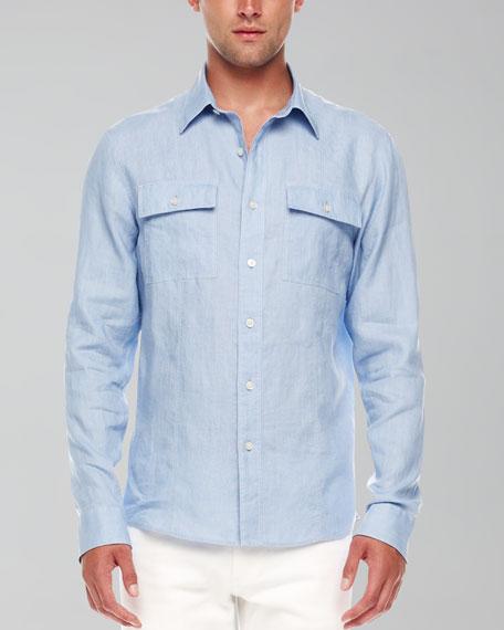 Contrast-Stitch Linen Shirt, Wedgewood