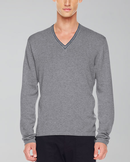 Tipped V-Neck Sweater, Ash Melange