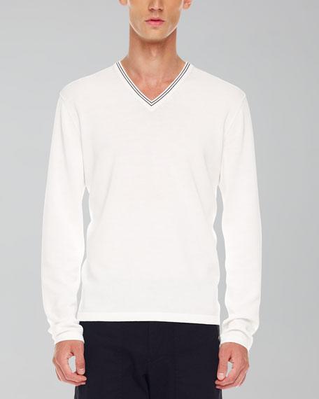 Tipped V-Neck Sweater, White