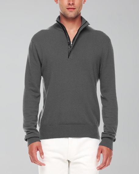 Leather-Trim Half-Zip Sweater, Ash Melange