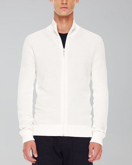 Thermal Zip Sweater, White