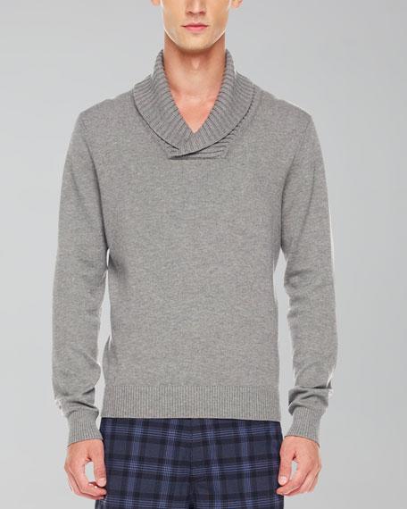 Shawl-Collar Sweater, Heather Gray