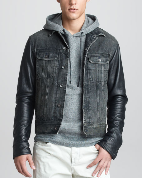 Leather-Sleeve Denim Jacket