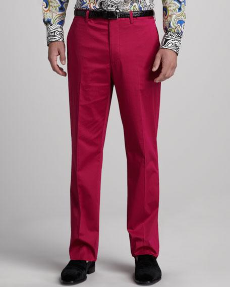 Flat-Front Cotton Pants, Pink