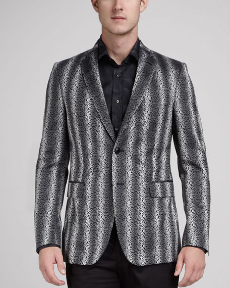 Paisley-Stripe Evening Jacket