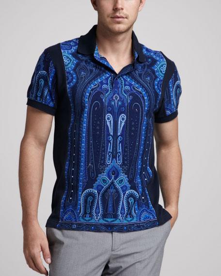 Paisley-Print Polo, Blue