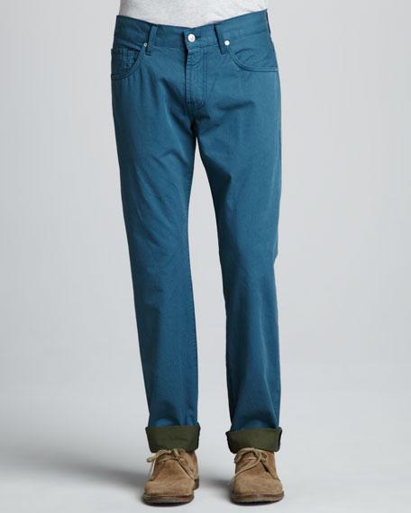 Straight Twill Pants, Marine Blue