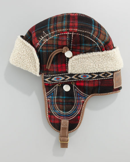 Wooly Plaid Trapper Hat