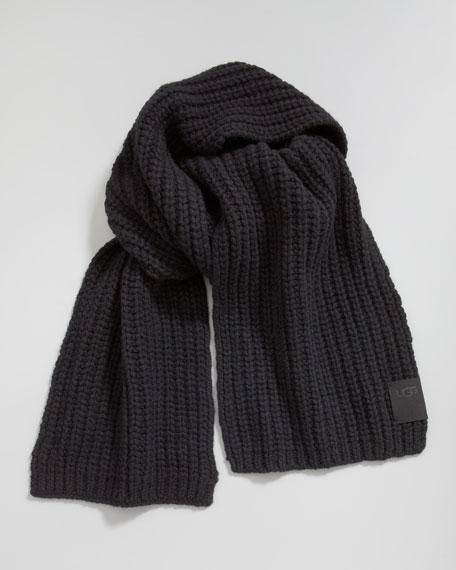 Chunky Rib-Knit Scarf, Black