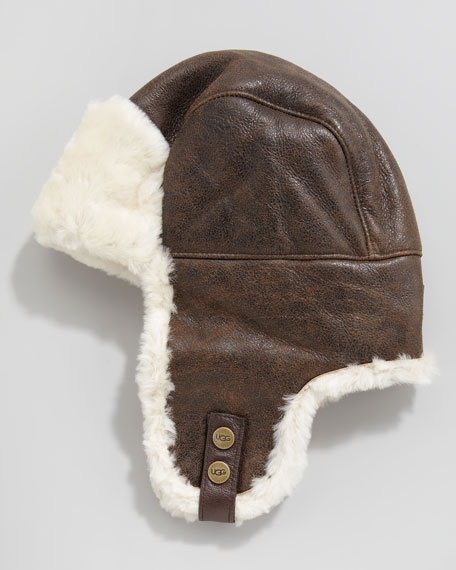 Shearling-Lined Trapper Hat