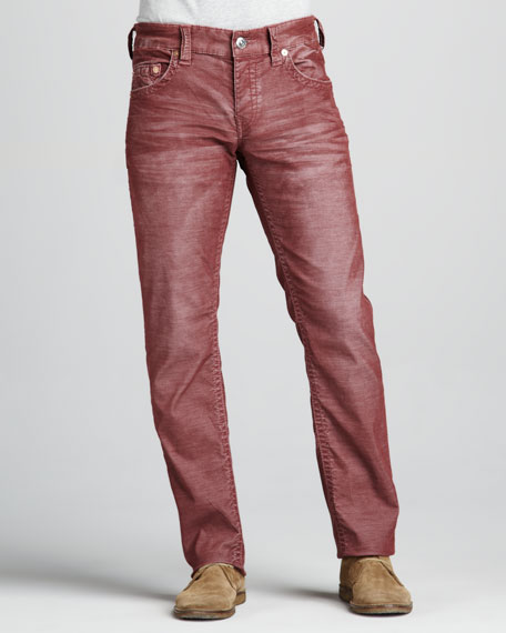 Geno Slim Corduroy Pants, Light Burgundy