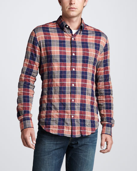 Large-Check Button-Down Shirt