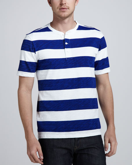 Striped Short-Sleeve Henley, White/Brilliant