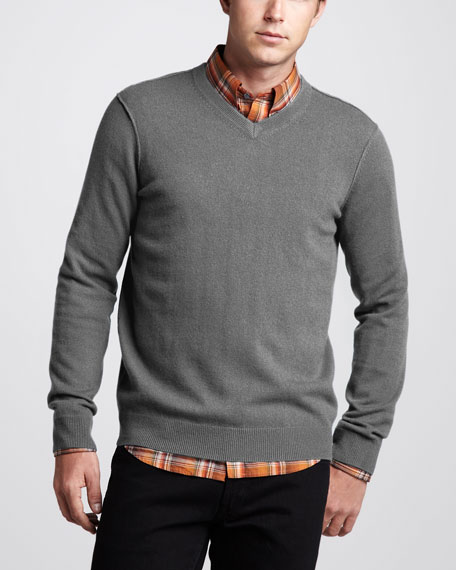 V-Neck Cashmere Sweater, Heather Slate
