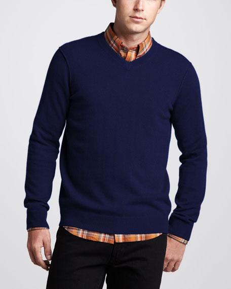 V-Neck Cashmere Sweater, Heather Militia