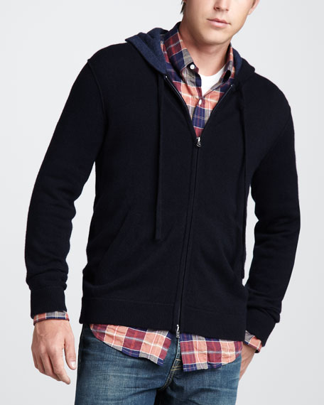 Cashmere Zip Hoodie, Heather Shadow