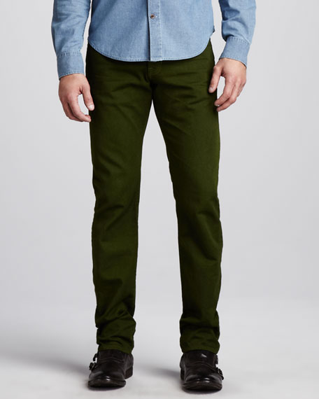 Slim Five-Pocket Pants, Okra