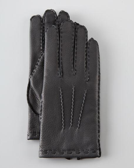 Adam Gored Deerskin Glove, Black
