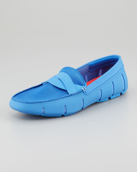 Braided Rubber/Mesh Penny Loafer, Regatta Blue