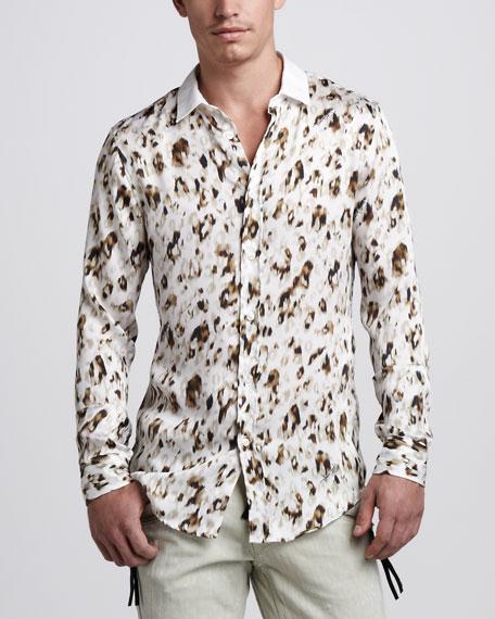 Leopard-Print Sport Shirt