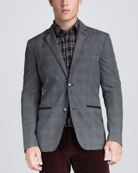 Convertible Plaid Sport Coat