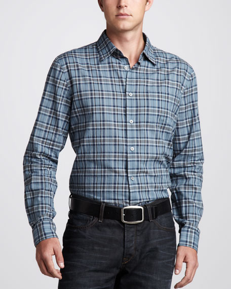 Plaid Sport Shirt, Dark Blue Heather