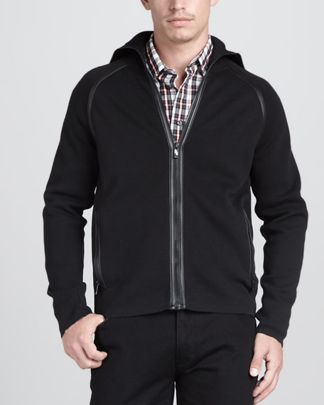 Monochrome Leather-Trim Zip Jacket