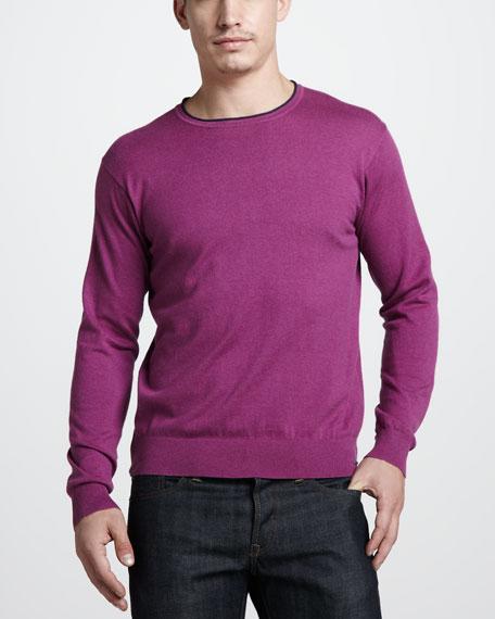 Cotton-Cashmere Crewneck Sweater, Berry