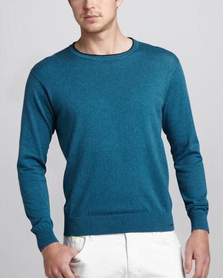 Cotton-Cashmere Crewneck Sweater, Petrol