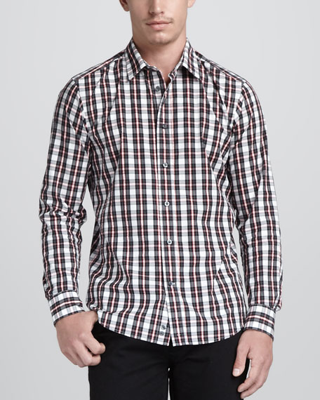 Monochrome Check Sport Shirt, Black/Red