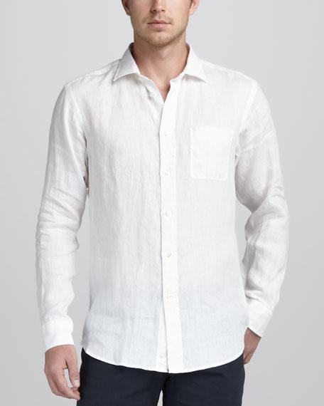 Linen Sport Shirt, White