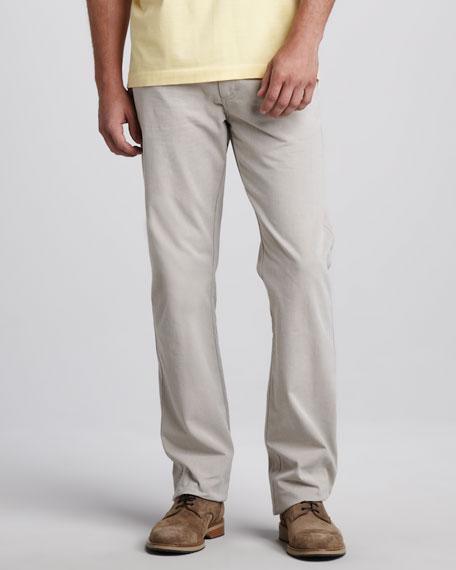 Straight-Leg Beige Jeans