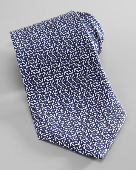 Anchor-Print Silk Tie, Navy